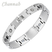 Channah 2017 Unisex Bracelet Crystal Manget Stainless Steel Silver Bio Bangle Supreme Quality Germanium Branded Charm