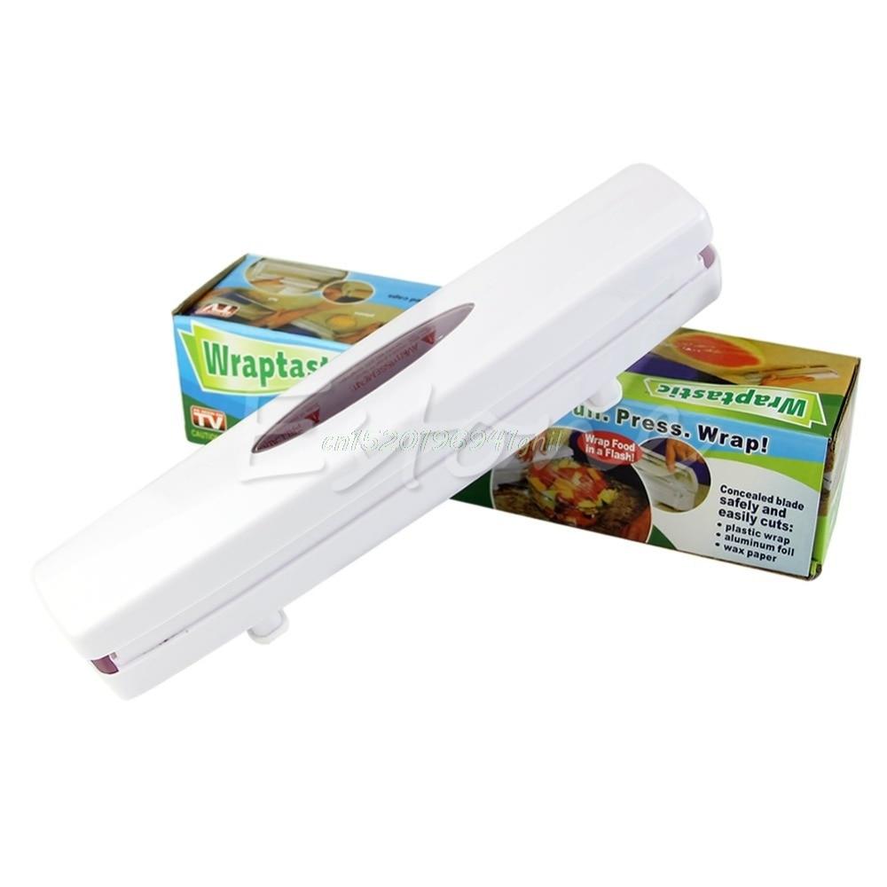 Kitchen Gadgets Plastic Wrap Dispenser Cutter Food Storage Holder Blade  Cutter#T025#(China