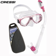 Cressi Perla Dry Snorkeling set Diving Mask Dry Snorkel Quality Silicone Skirt Mask Dry Top valve Snorkel for Adults
