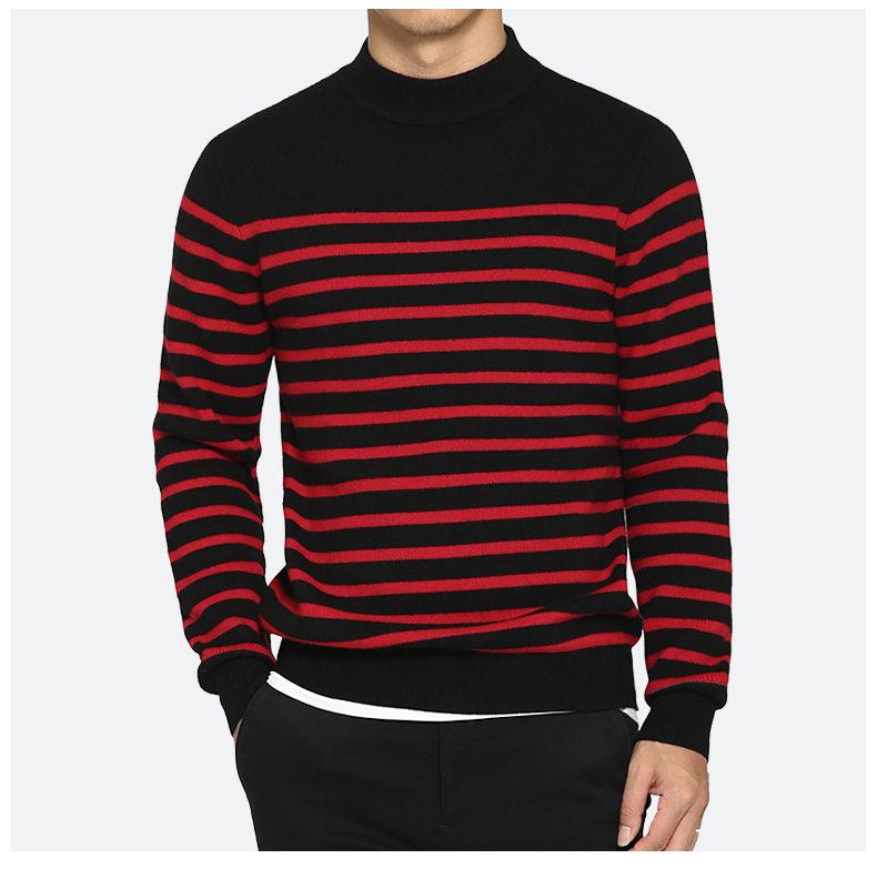 100% Wool sweater men turtleneck striped pure woolen mens sweaters male pullover autumn winter knitwear Brand Muls M-4XL 3126-01
