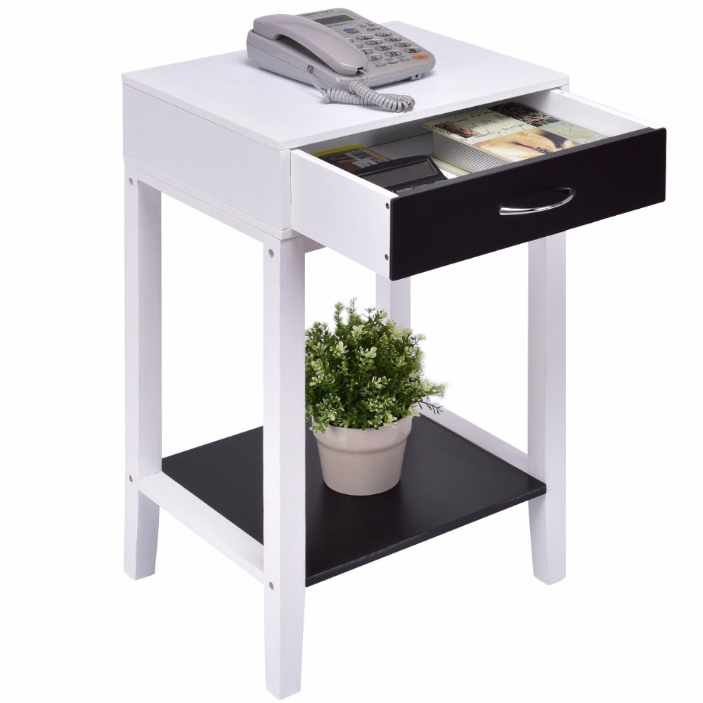 Goplus Side Table for Sofa Bed Living Room Modern Coffee Table White Bedroom Bedside Tables with Drawer Nightstands HW55475<br>