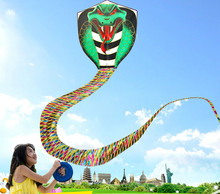 9 m King Cobra Kite With Handle Line Creative Snake Kite Outdoor Toy for Adult Children Cartoon Triangle Long Tail Kite Toy Gift