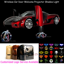 2x Wireless Sensor No Drilling Car Door Welcome 3D Marvel The Avengers Logo Laser Projector Puddle Shadow LED Light 0126