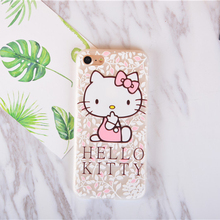 Cartoon Girl Pink White Lovely Hello Kitty Phone Shell Half Frosted Cover Case For iPhone 6 6s 7 Plus Phone Cases Fundas Capa