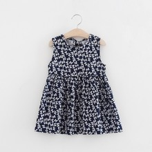 2017 New Princess Summer Toddler Girl Sleeveless Floral Printed Dresses A-line Party Dance Evening Vest Dresses(China)