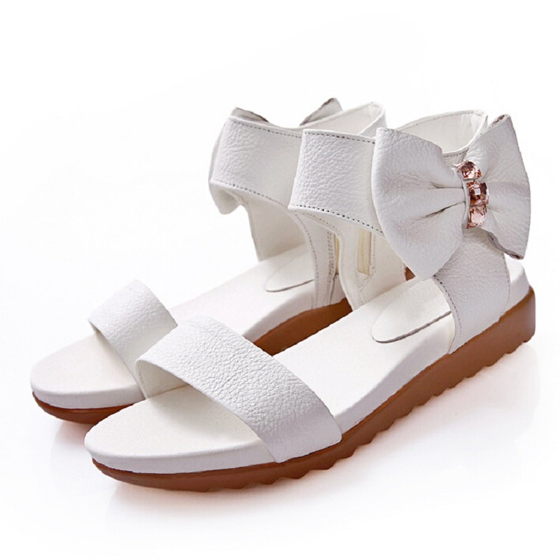 New Korean Womens Genuine Leather Sandals Girls Flat  Bow Summer Rome Shoes Open Toe Casual Sandals For Women Zapatos Mujer<br><br>Aliexpress