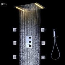360*500mm Ceiling Electric Shower Set,Led Shower Head With 2 Inches Body Shower Jets,Single Color Led Shower Faucet Set