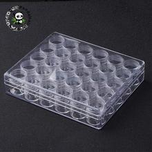 Defective Closeout Sale Plastic Bead Containers, Rectangle and Column, Clear, 16x13.5x3.5cm; 30pcs/set