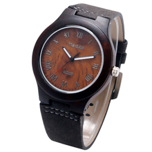 Creative Cool Nature Wood Stainless Steel Pin Buckle Design Quartz Pocket Watch Men Women Coffee Genuine Leather Strap Watches(China)