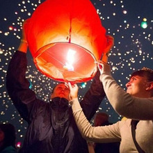 portable chinese lantern Paper Chinese Lanterns Fire Sky Fly Candle Lamp for Birthday Wish Party Wedding Decoration lantern(China)