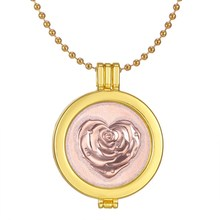 DIY rose heart Frame locket necklace My Coin Zinc Alloy 33mm Coin Pendant  Interchangeable Coin jewelry