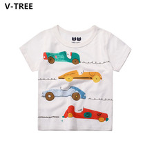 V-TREE Boys Cotton T Shirts Children Short Sleeve T-Shirts For Summer Baby Kids Cartoon O-neck TShirt Toddler Casual Cloth