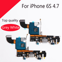 "1Pcs New Charging Charger Port USB Dock Connector Flex Cable For iPhone 6S 4.7"" with Headphone Jack Mic Flex Cable Ribbon"