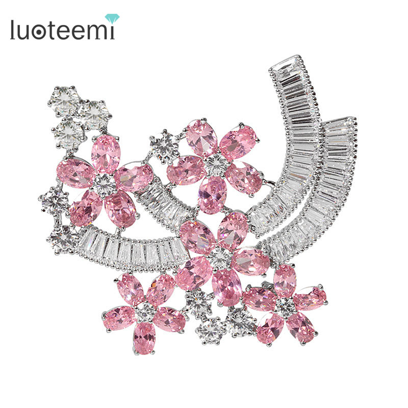 LUOTEEMI Fashion Tiny AAA Cubic Zirconia Crystal Flower Brooch Pins For Women Wedding White Gold-Color Bride Jewelry(China)