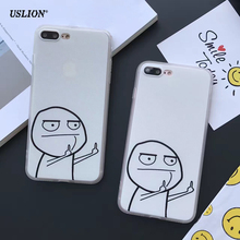 USLION Funny Cartoon Middle Finger Phone Case For iPhone 7 6 6s Plus 5 5s SE Fashion Hard PC Cases Back Cover For iPhone7 Plus