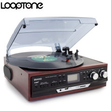 LoopTone Stereo Phono Players Turntable Vinyl LP Record Player With AM/FM Radio USB/SD Aux Cassette MP3 Recorder Headphone Jack(China)