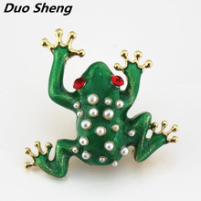 New cute fashionable drop glaze Imitation pearl green Red eyed frog brooch pins Suitable for handbags clothing accessories(China)