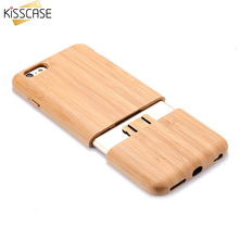 KISSCASE Wood Case For Apple iPhone 6 6s Plus Cover Natural Wooden Combo 2 in 1 Shockproof Cover Funda Hard Case Coque Shell