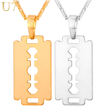 U7 Razor Blade Necklace Men Jewelry Trendy Silver/Gold/Black Color Pendant & Chain Fathers Day Gifts For Dad P559(China)