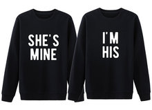 She's mind i'm his Sweatshirt Women girl Fashion pullovers Casual crewneck couple Cotton Long Sleeve Top Jumper Hoodies