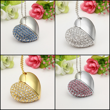 Faction Metal Crystal Pen Drive 4G 8G 16G 32G 64G Crystal Heart USB Flash Drive USB 2.0 Memory Flash Stick Necklace PenDrive