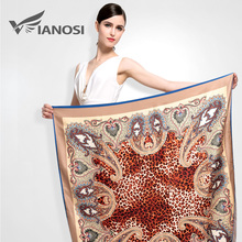 [VIANOSI] Newest Bandana Silk Scarf Square Women Scarves Soft Fashion Print  Big Size Leopard Shawl Brand Package VA039