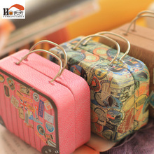 CUSHAWFAMILY Europe type vintage suitcase shape candy storage box wedding favor tin box cable organizer container household(China)