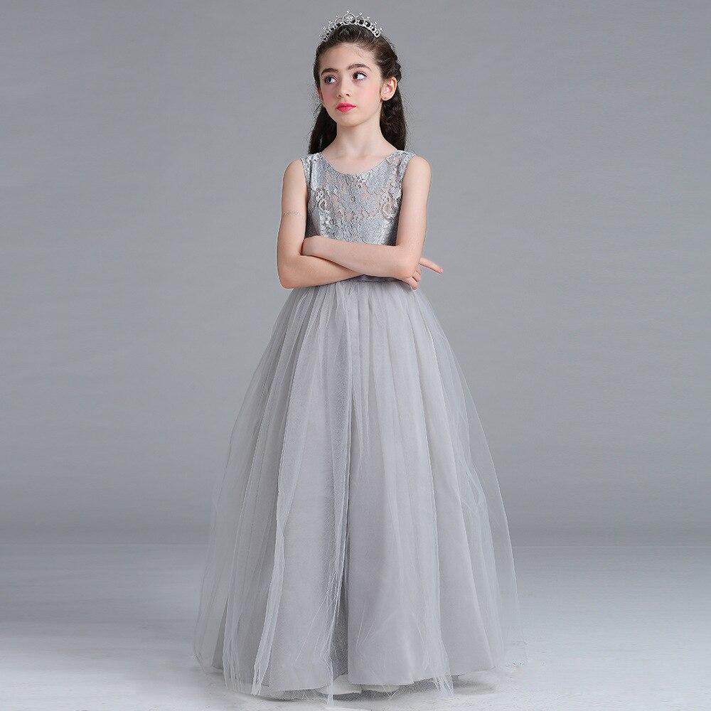 Girls Dress Fashion Elegant Sleeveless High Waist Gauze Long Dress Kids Performance Dress Girl Wedding Birthday Party Dress<br>