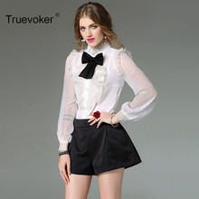 Truevoker New Spring Designer Blouse Women's Elegant Puff Sleeve Bow Lace Patchwork Overall Shirt Top(China)
