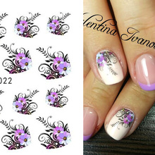 1 sheet Beauty Purple Flower Water Transfer Nail Sticker Nail Art Decals DIY Decorations French Manicure Tip Nail Tool LASTZ-022(China)