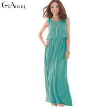 Summer Dress New Arrival Red Green Bohemian Style Chiffon Woman Long Dresses Fashion Sleeveless Designs Maxi Dress GRD010