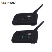 2PCS Vnetphone V6 Motorcycle Bluetooth3.0 Helmet Intercom Headset 1200M Moto Wireless BT Interphone for 6 Riders Helmet Intercom