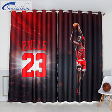 3D Blackout Curtains NBA 23rd Superstar Basketball Jersey Pattern Thickened Bedroom Child Curtain Tulle Curtain for Living Room