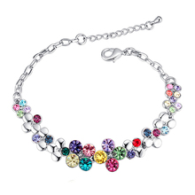 Summer Style Romantic Flower Design Crystals from Swarovski Bracelet Femme Women Wedding Bracelets Pulseras Fine Jewelry