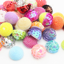 Lucia Crafts 20-24mm Random Mixed Foam Sequins Half Round Ball Christmas DIY Decoration Handmade Accessories 24pcs/lot 043007010(China)