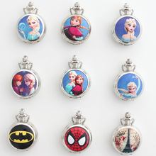 12pcs/Lot, Mixed Bulk The Snow Queen Princess Elsa Silver Glass Mirror Design Quartz Pocket Watch Necklace Men Women Kids Gifts(China)