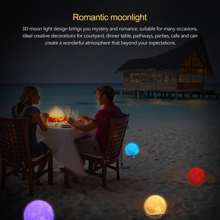 Chiclits LED Moon Lamp 3D USB Magical Moon Night Light 10CM Table Touch Sensor Color Changing Home Bedroom Decoraction Child Kid Girl Gift (15)
