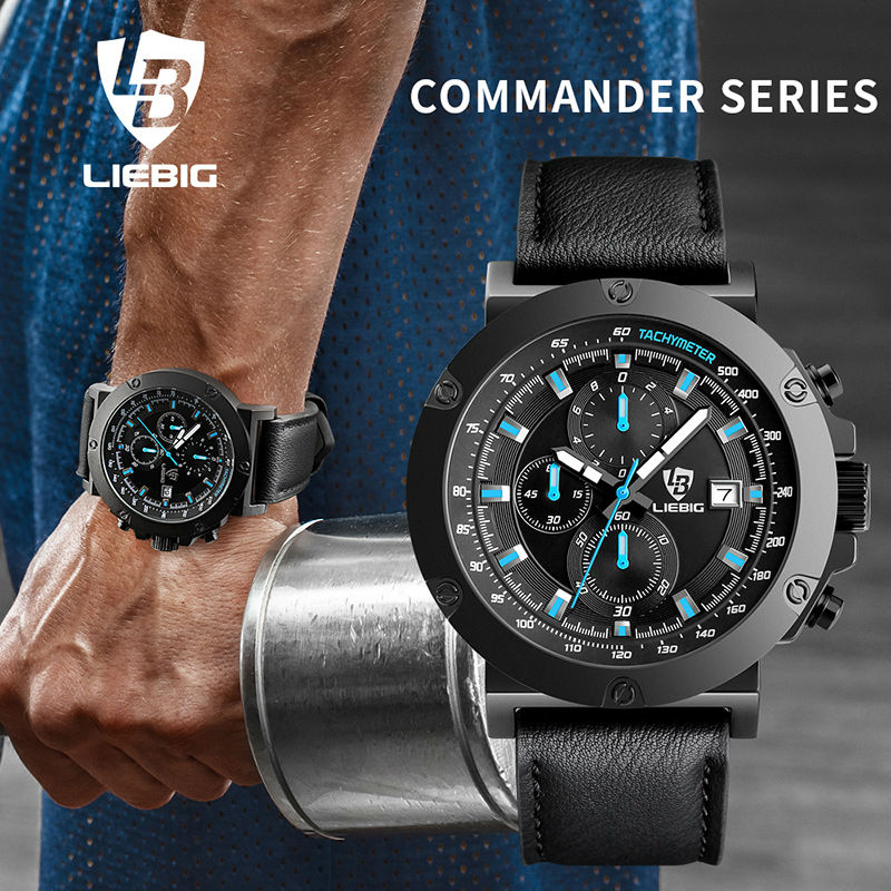 LIEBIG 1018 Men Fashion Multi-dial Quartz Wristwatch Sport Military Watches Calendar Waterproof Clock Relogio Masculino<br>