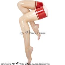 Buy Transparent Red Trims Top Sexy Long Latex Stockings Open Feet Rubber Thigh high stockings WZ-0032