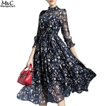 FANALA Autumn Chiffon Dress Women Casual Party Dress Ruffles Fashion Beach Dress Long Sleeve Print Pleated Smock Dress Vestidos