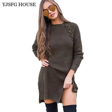 YJSFG HOUSE Fashion Women Autumn Knitted Dress Casual Long Sleeve Warm Sweater Dress Ladies Elegant Evening Party Short Dress(China)