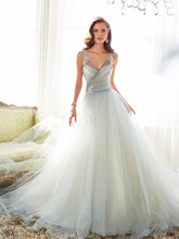 Charming V-Neck Wedding Dresses Tulle Design Gray Ruched Design Bridal Gown Court Train Custom Made