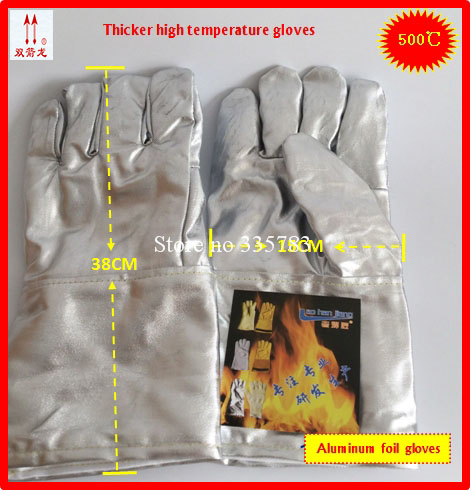 500 degrees high temperature gloves high quality Aluminum foil Thicker Anti-scalding protection gloves Flame retardant  gloves<br>