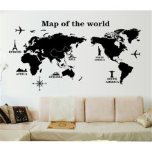Hot Map of the World Removable PVC Decal Wall Sticker World Map Home Decor Art for Living Room Wall Deacor
