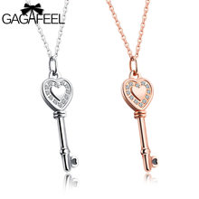 Gagafeel Laser Custom Rngrave DIY Key Pattern Women Necklace Jewelry Crystal Zircon Silver Gold Color Choker Dropshipping(China)