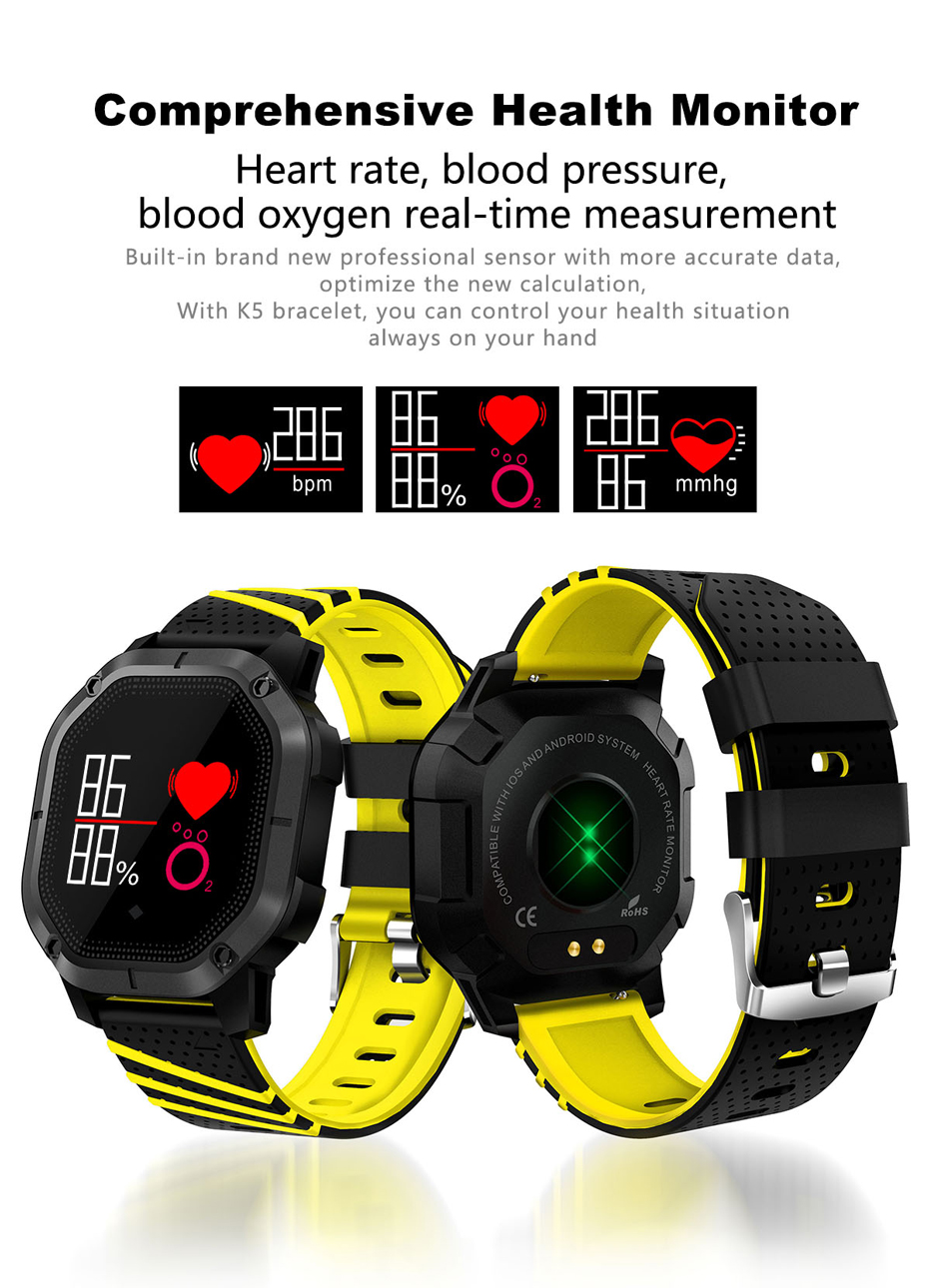 COLMI K5 Smart watch IP68 Waterproof Multiple Sports Modes Cycling Swimming Heart Rate Monitor Blood oxygen Blood pressure Clock 8