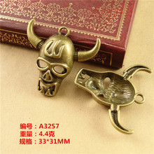33*31MM Metal zinc alloy retro cattle bull's head ox animal charms and Pendant vintage DIY jewelry accessories wholesale shop