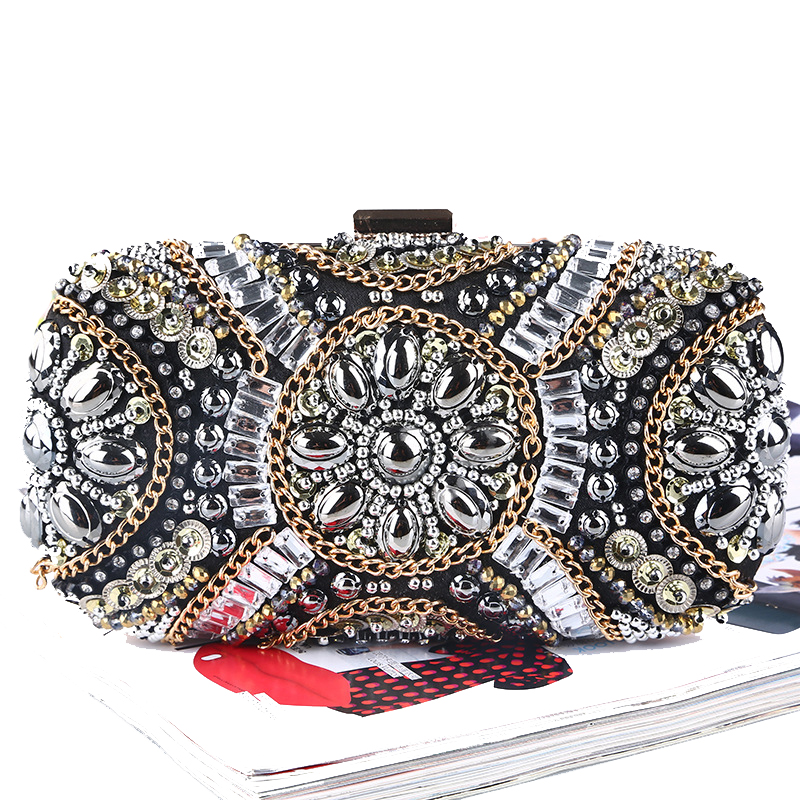 Vintage women evening bags beaded wedding clutch purse handmade style evening bag for wedding chain diamonds embroidery bags<br>