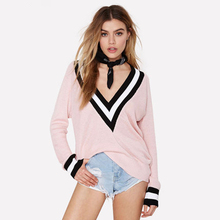 Stripe Women Pullover V Neck Winter Sweater Loose Women Sweaters Fashion Sueter Mujer Christmas Sweater Ladies Jumpers 50B0544(China)