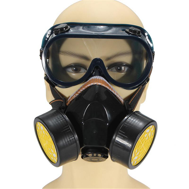 Dual Anti-Dust Spray Paint Industrial Chemical Gas Respirator Mask Glasses Set Black New<br><br>Aliexpress